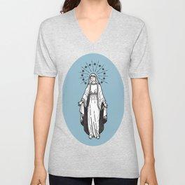 Virgin Mary Blue Unisex V-Neck