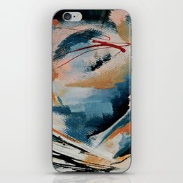 Drift 6: a bold mixed media piece in blues, brown, pink and red iPhone Skin