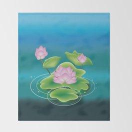 Pink lotus Throw Blanket