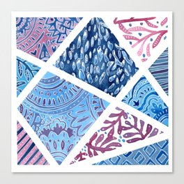 Sectional Patterns - Blue and Purple Canvas Print