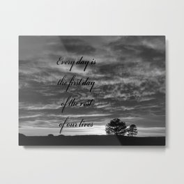 Forever Quote B&W Metal Print