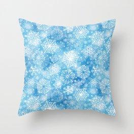 Snowflakes on blue  Throw Pillow