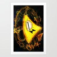 bill cipher Art Prints featuring Bill Cipher by Beejutsu