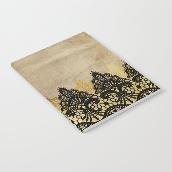 Elegance- Ornament black and gold lace on grunge paper backround Notebook