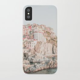 Positano, Italy Amalfi coast pink-peach-white travel photography in hd iPhone Case