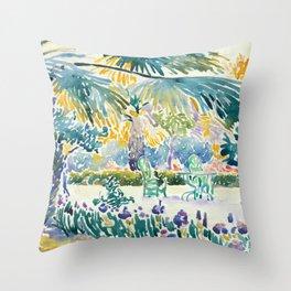 """Henri-Edmond Cross """"Garden of the Painter at Saint Clair"""" Throw Pillow"""