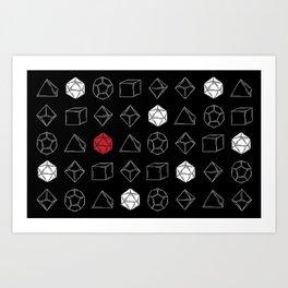 Black Dungeons and Dragons Dice Set Pattern Art Print