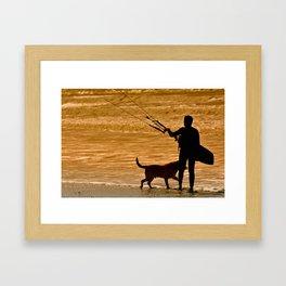 Kitesurfer at sunlight. Back view. Unrecognizable Framed Art Print