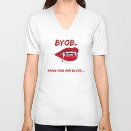 BYOB BRING YOUR OWN BLOOD Vampire Red Lips Unisex V-Neck