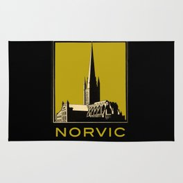 Vintage Norvic Cathedral with Bold, Beautiful Color Rug