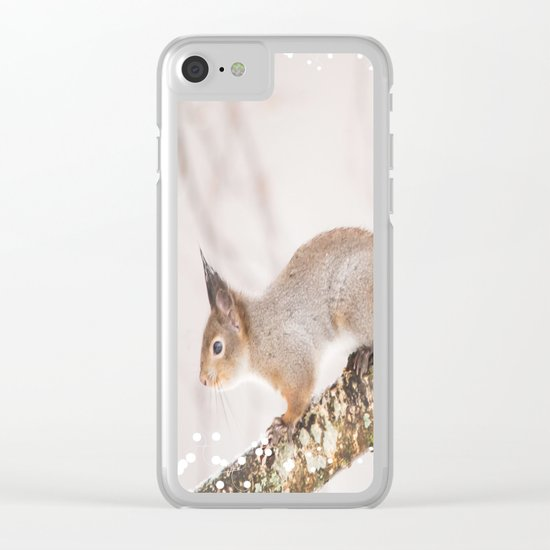 Little squirrel jumping on the branch Clear iPhone Case