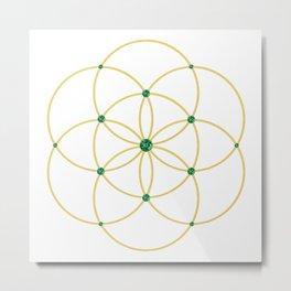 Emerald Seed of Life Metal Print