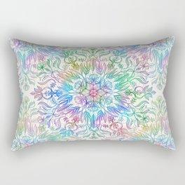 Nature Mandala in Rainbow Hues Rectangular Pillow