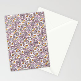 Blush Daisies and Berries Tiled Pattern Stationery Cards