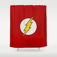 flash Shower Curtains featuring Flash by Some_Designs