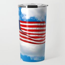 American Flag in Big Blue sky Travel Mug