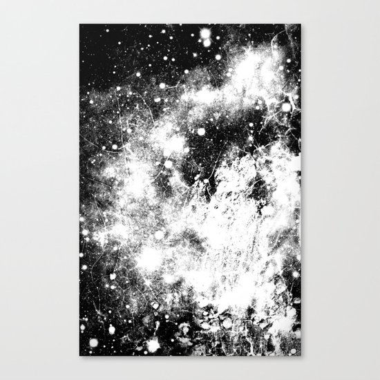Chaotic Space : Galaxy Black White Gray Canvas Print