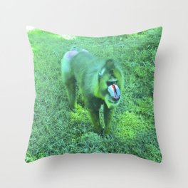 Monkey red nose, between green. Throw Pillow