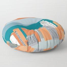 Los Angeles, California - Skyline Illustration by Loose Petals Floor Pillow