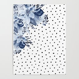 Boho Blue Flowers and Polka Dots Poster