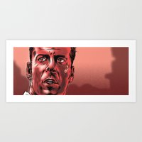 die hard Art Prints featuring Bruce Willis/Die Hard by Daniel Hatcher