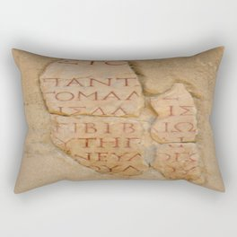 Inscription at the Library of Celsius, Ephesus, Turkey Rectangular Pillow