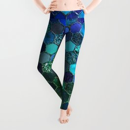 Blue & green geometric hexagonal elegant & luxury pattern Leggings
