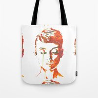 hepburn Tote Bags featuring Audrey Hepburn by Joe Shmo