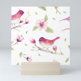 Watercolors magnolia & birds pattern Mini Art Print