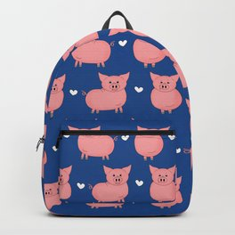 Pigs and Hearts Pattern - Blue Backpack