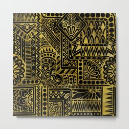 Decorative  Gold and Black Tribal Pattern Metal Print