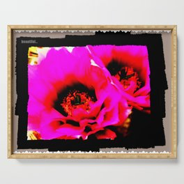 Dreamy Pink Cactus Flowers Serving Tray