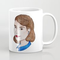 peggy carter Mugs featuring Watercolour Peggy Carter by HayPaige