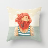 hair Throw Pillows featuring Octopus by Seaside Spirit
