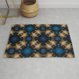 Abstract pattern. Black blue yellow background. Rug