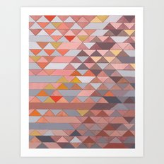 Triangle Pattern no.5 Gold, Pink and Brown Art Print