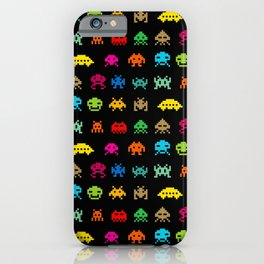 Invaders of Space retro arcade video game pattern design iPhone Case