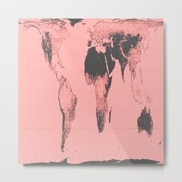 World Map: Gall Peters Pink Metal Print