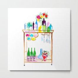 Watercolour Bar Cart Metal Print