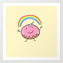 Unicorn donut Art Print