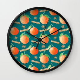Tangerines,Cinnamon and Star Anise Watercolor Illustration and Pattern, Teal Background  Wall Clock