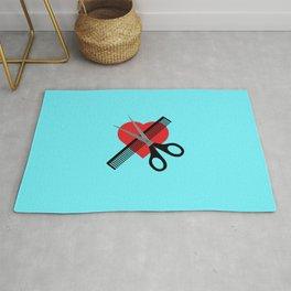 scissors & comb & heart Rug