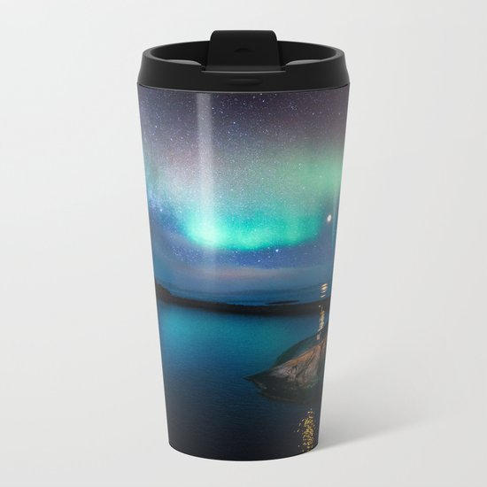 Aurora Borealis Over Coastal Waters Metal Travel Mug