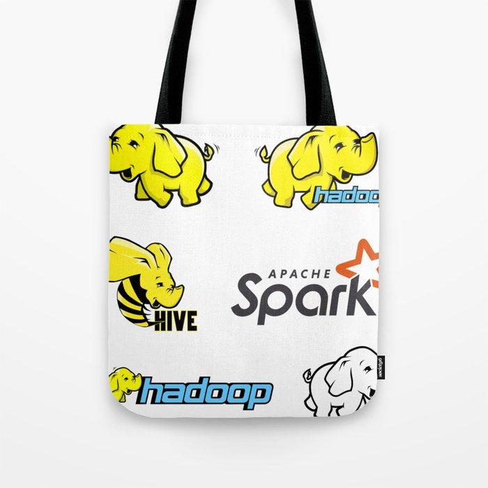 hadoop apache spark programming stickers no sql developer mongo db hive  Tote Bag