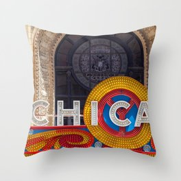 Chicago Neon Sign Throw Pillow