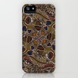 Funghi & Fern Forest, Fall Colors , Foraging for Woodland Mushrooms Brown, Orange Purple iPhone Case