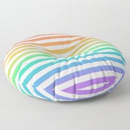Thin Horizontal Rainbow and White Stripes Floor Pillow