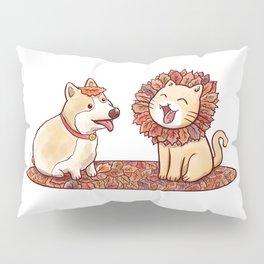 Corgi dog and a cat imitating lion with mane made of autumn leaves Pillow Sham