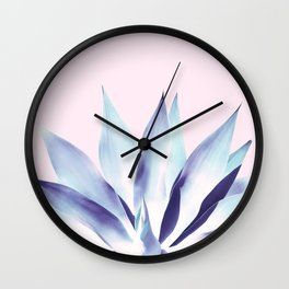 Solar Agave - Pastel blue on pink Wall Clock