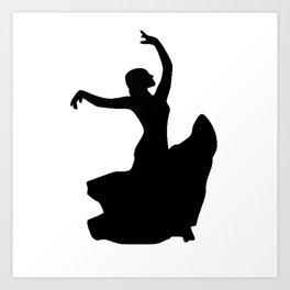 Flamenco Dancer in White Circle Art Print